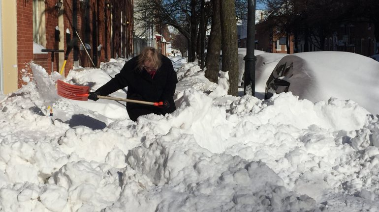 Residents of the Fells Point neighborhood in Baltimore dig out of the massive snowfall courtesy of winter storm Jonas.